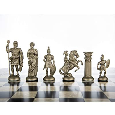 "Plastic Chess Pieces RomanLegion 3 3/4"", 9,6 cm Black & Gold - Weighted, Felted: Toys & Games"