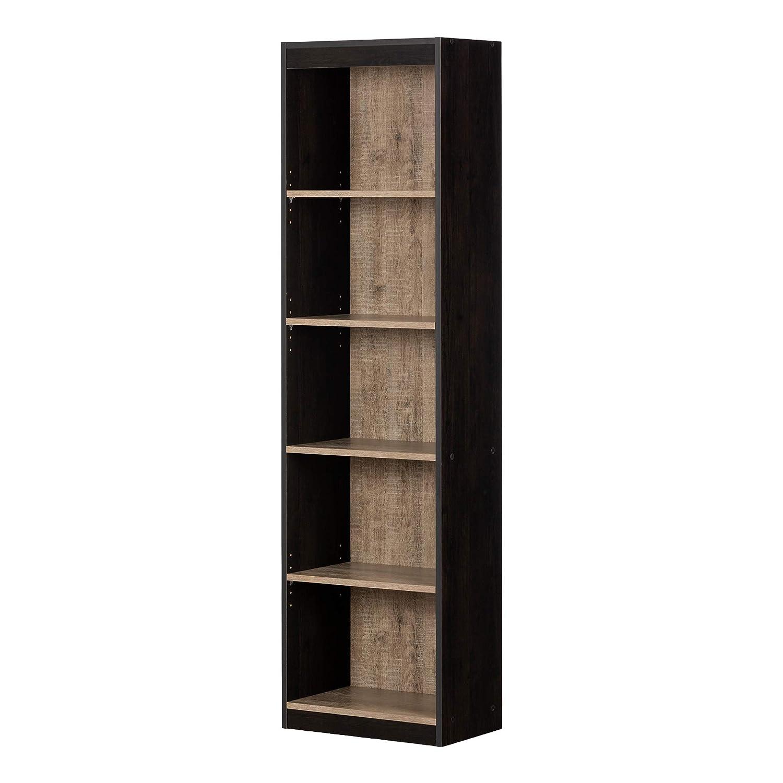 South Shore 12318 Axess 5-Shelf Narrow Bookcase, Weathered Oak and Ebony