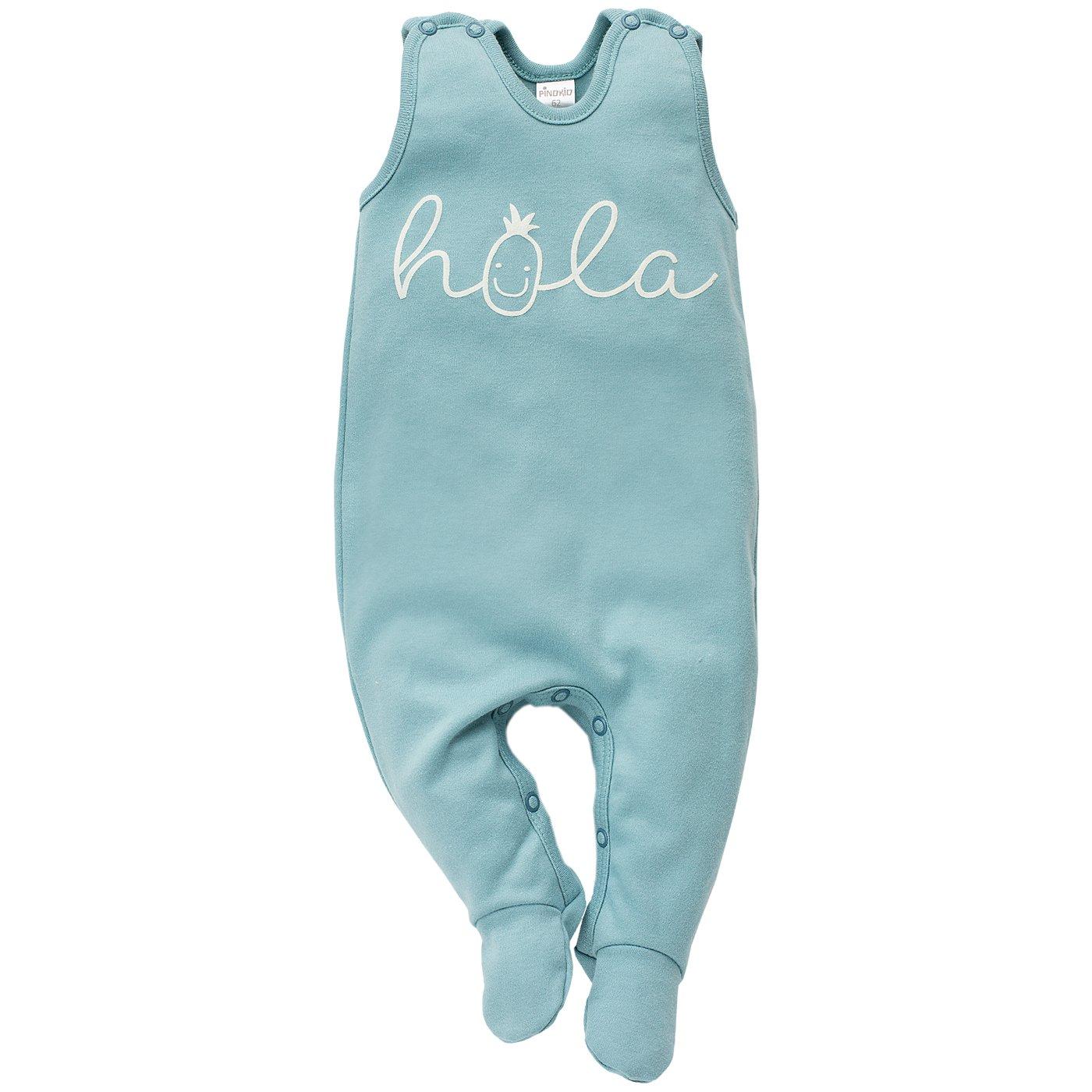 Pinokio - Leon - Baby Mädchen Strampler Baumwolle, Türkis mit Ananas Weiß Hola, Strampelanzug Schlafanzug, Mädchen Jungen Unisex Mädchen Jungen Unisex