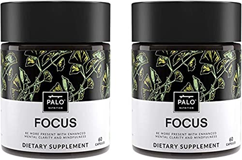 Focus All-Natural Brain Booster 120 Count 2 Pack – Nootropic for Memory Mental Clarity – with Ginkgo Biloba, Bacopa Monnieri, Gotu Kola, Ashwagandha Mucuna Pruriens. by PALO Nutrition