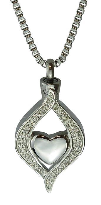 Klar Herz Urne Halskette  Gedenk Asche Andenken  Feuerbestattung Schmuck