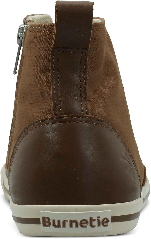 Burnetie Mens Light Brown Solid Plaid High Top Vintage Sneaker