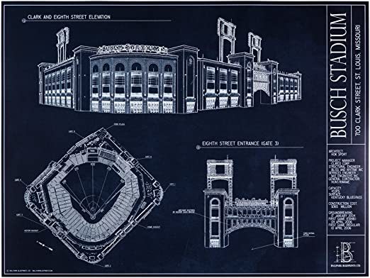 Amazon.com: Busch Estadio Blueprint Impresión: Home & Kitchen