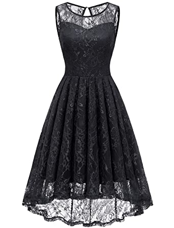 Gardenwed Women s Vintage Lace High Low Bridesmaid Dress Sleeveless  Cocktail Party Swing Dress Black XS 1b8b004a1a46
