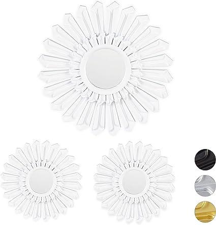 Cornice in Plastica /Ø 25 cm Argento Set da 3 Relaxdays Specchio Decorativo a Forma di Sole da Parete Rotondo
