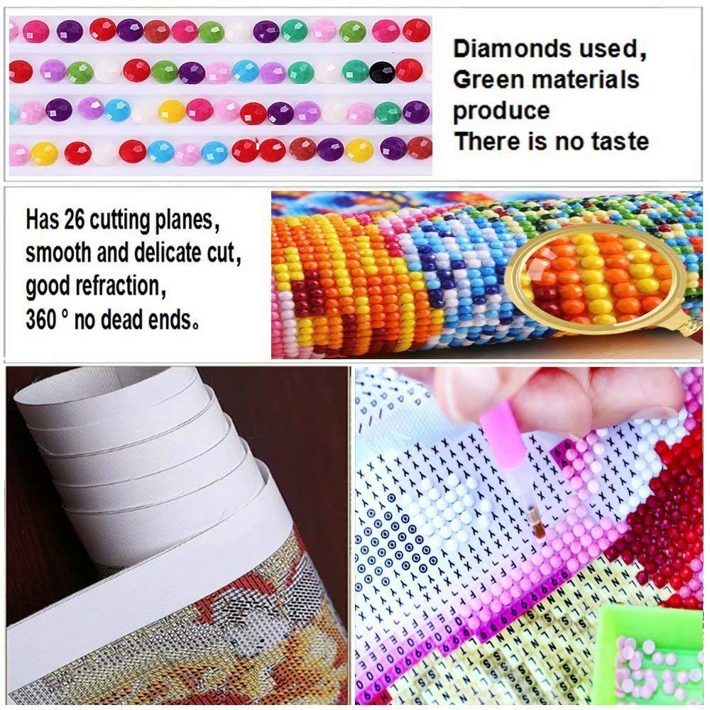 Flowerbeads 5D DIY Diamond Painting Kit Pet Dog Engel Colorful Pug Full Round Embroidery Cross Stitch Mosaic Rhinestone Home Decor Gift