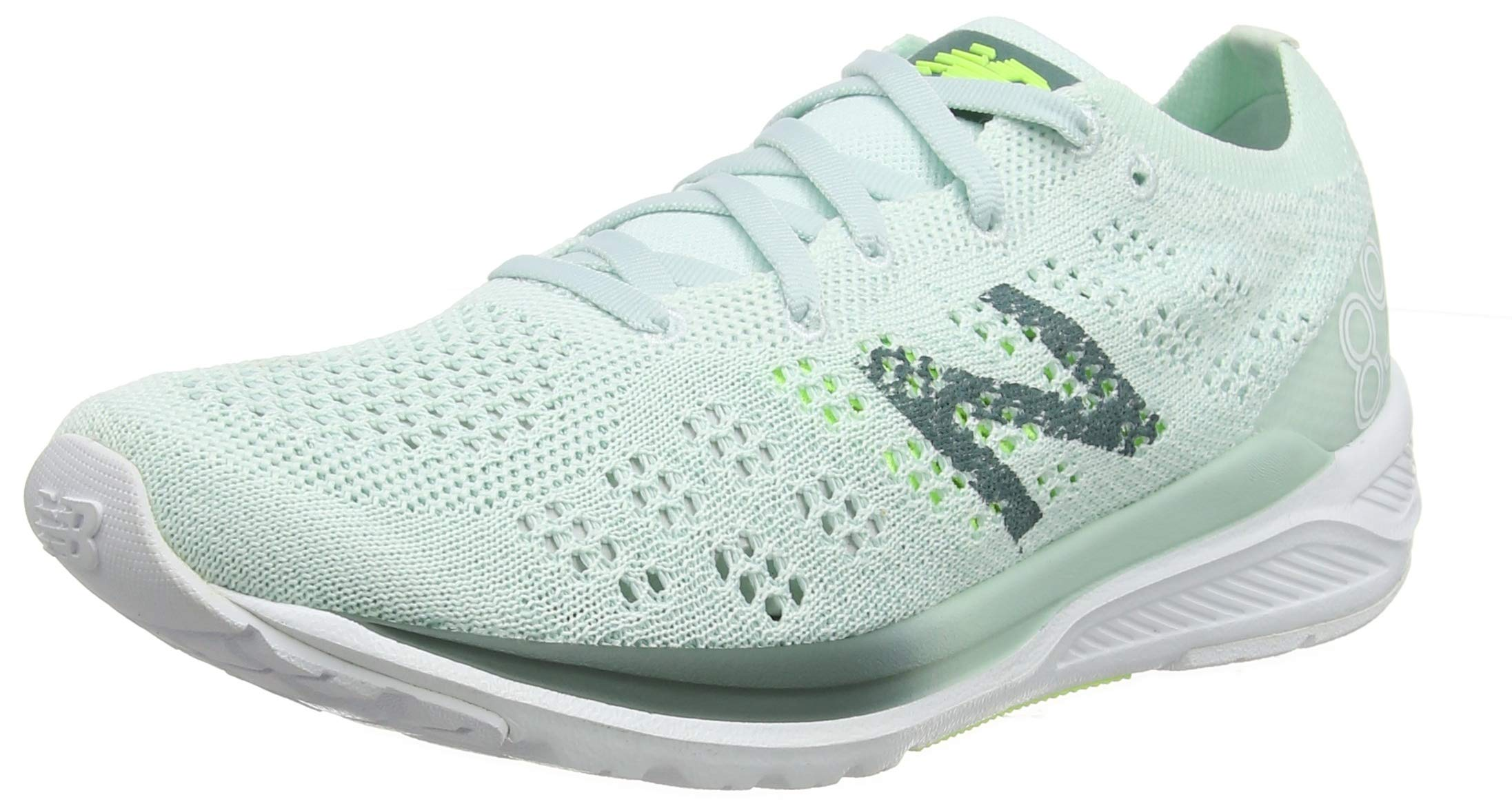 New Balance Women's 890v7 Running Shoe, Crystal SAGE/Dark Agave/Bleached Lime GLO, 5 W US