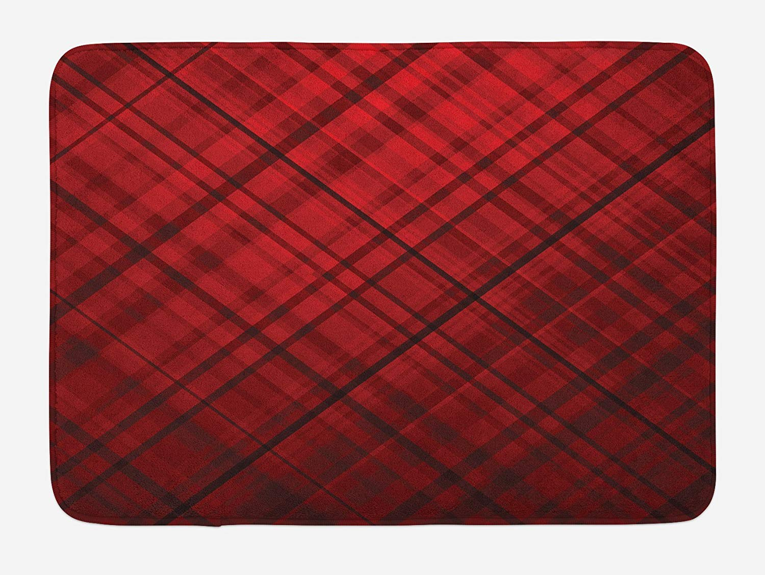 Red and Black Bath Mat, Scottish Kilt Design Pattern with