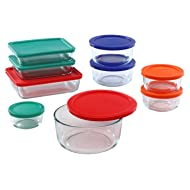 Pyrex Simply Store Glass Rectangular and Round Food Container Set (18-Piece, BPA-free)