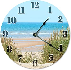 "Sugar Vine Art Beach Dunes Clock Large 10.5"" Wall Clock Decorative Round Circle Clock Home Decor Beach Decor, Beach Clock"