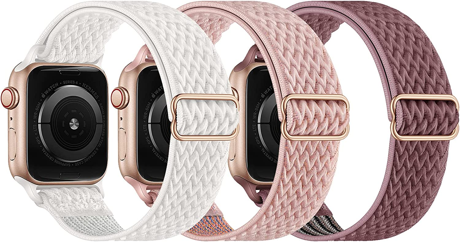 KADES Stretchy Solo Loop Strap Compatible with Apple Watch Bands 38mm 40mm, Adjustable Braided Sport Elastics Nylon Wristband Compatible with iWatch Series 6/5/4/3/2/1 SE (White+Pink+RoseTaupe)
