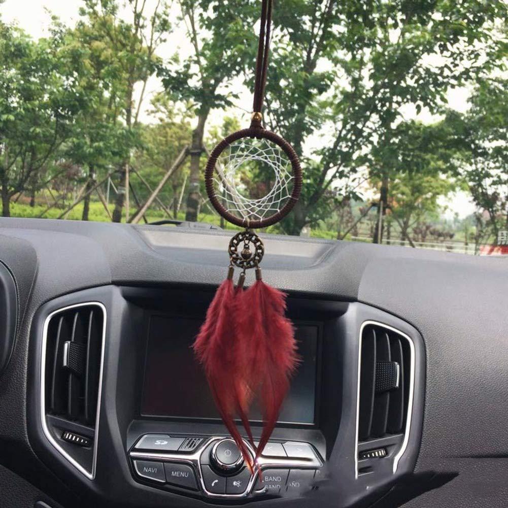 Handgemachte Blumen traumfänger mit Wind Chime-chic hängende deko Geburtstagsgeschenk-Rot 50x5cm 20x2inch Rart Dream Catcher für autospiegel