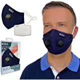 BEOLA Washable Face Mask Non Medical Reusable Cotton With Valve Filter Reusable Bella Adult Woman Man Fashion (Dark Blue…