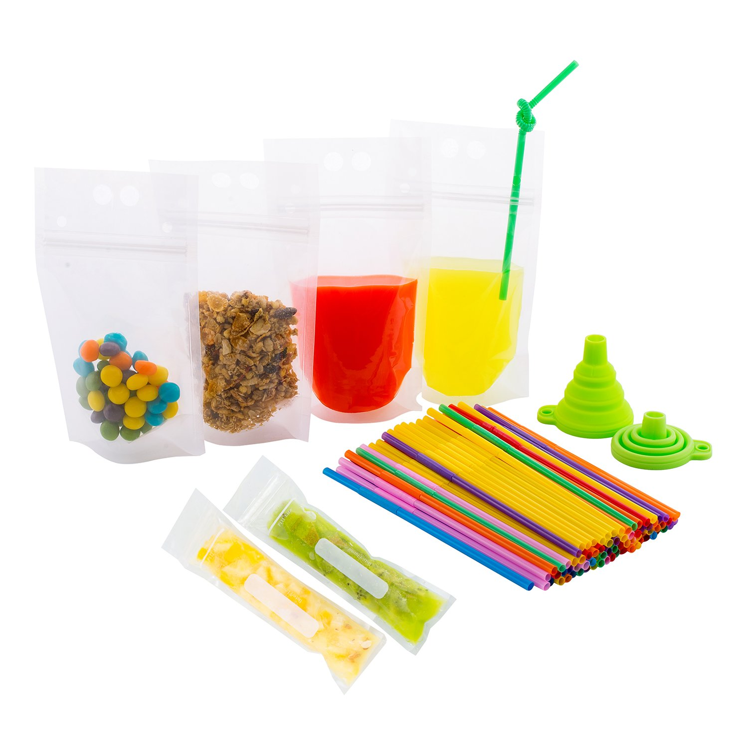 200 Pcs Reusable Drink Pouches with Double Zipper for Smoothie - Long Plastic Straws and Popsicle Mold Bags and 1 Silicone Funnel | Juice & Food Disposable Container | Non-Toxic, Phthalate & BPA Free