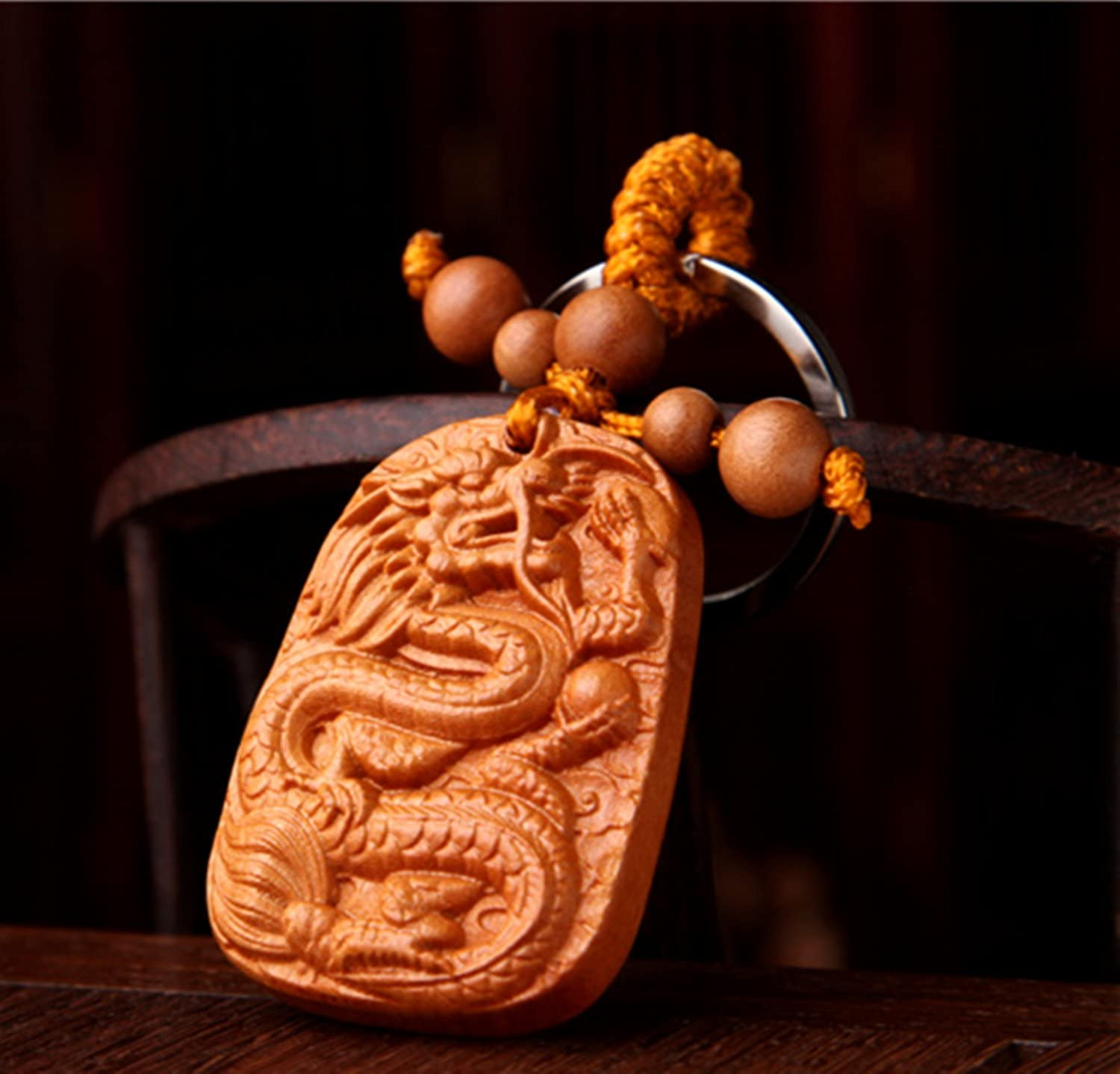 Betterdecor Feng Shui Handmade Peach Wood Carved Chinese Dragon Key Ring for Prosperity (with a Pouch)