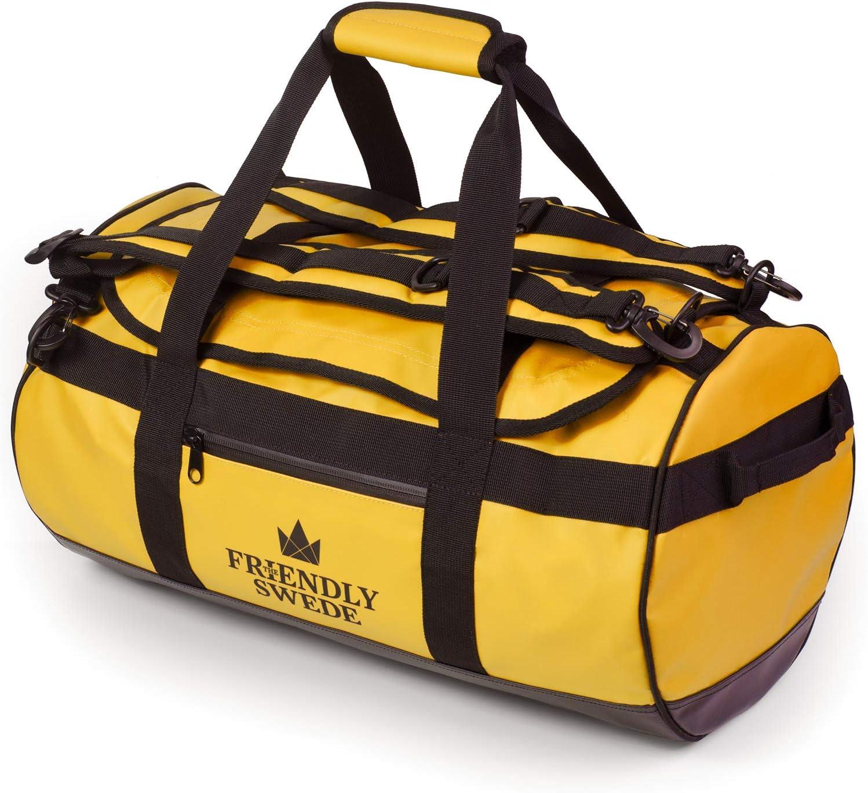 The Friendly Swede - Bolsa de viaje impermeable, 30 L, 60 L, 90 L, con función de mochila Amarillo, 30 L.