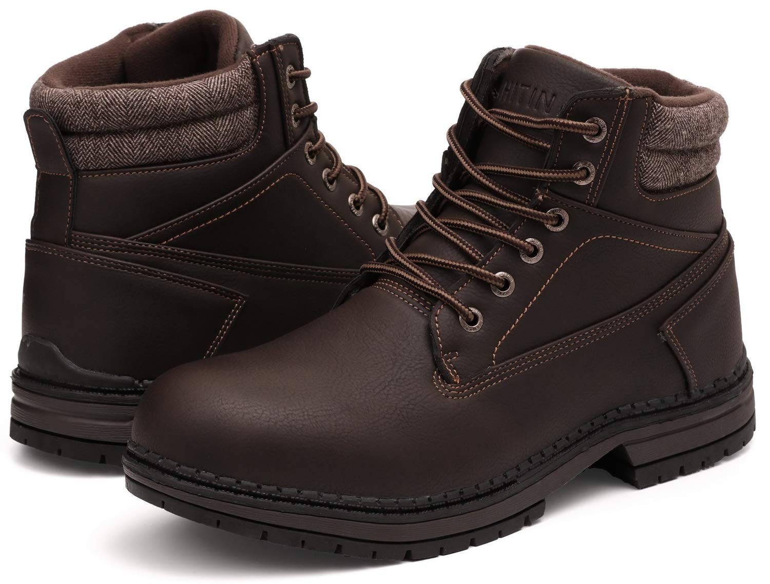WHITIN Men's Mid Soft Toe Leather Insulated Work Boots Construction Rubber Sole Roofing Waterproof for Outdoor Hiking Winter Snow Most Best Comfortable Lightweight Comfort Comfy Brown Size 8.5 by WHITIN