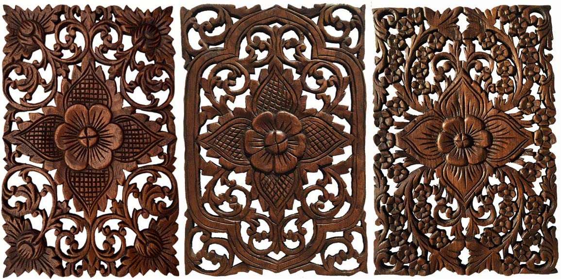 Set of 3. Wall Art Wood Carved Panel Floral Design. Tropical Wall Decor in Size 12 x17.5 x0.5 Dark Brown