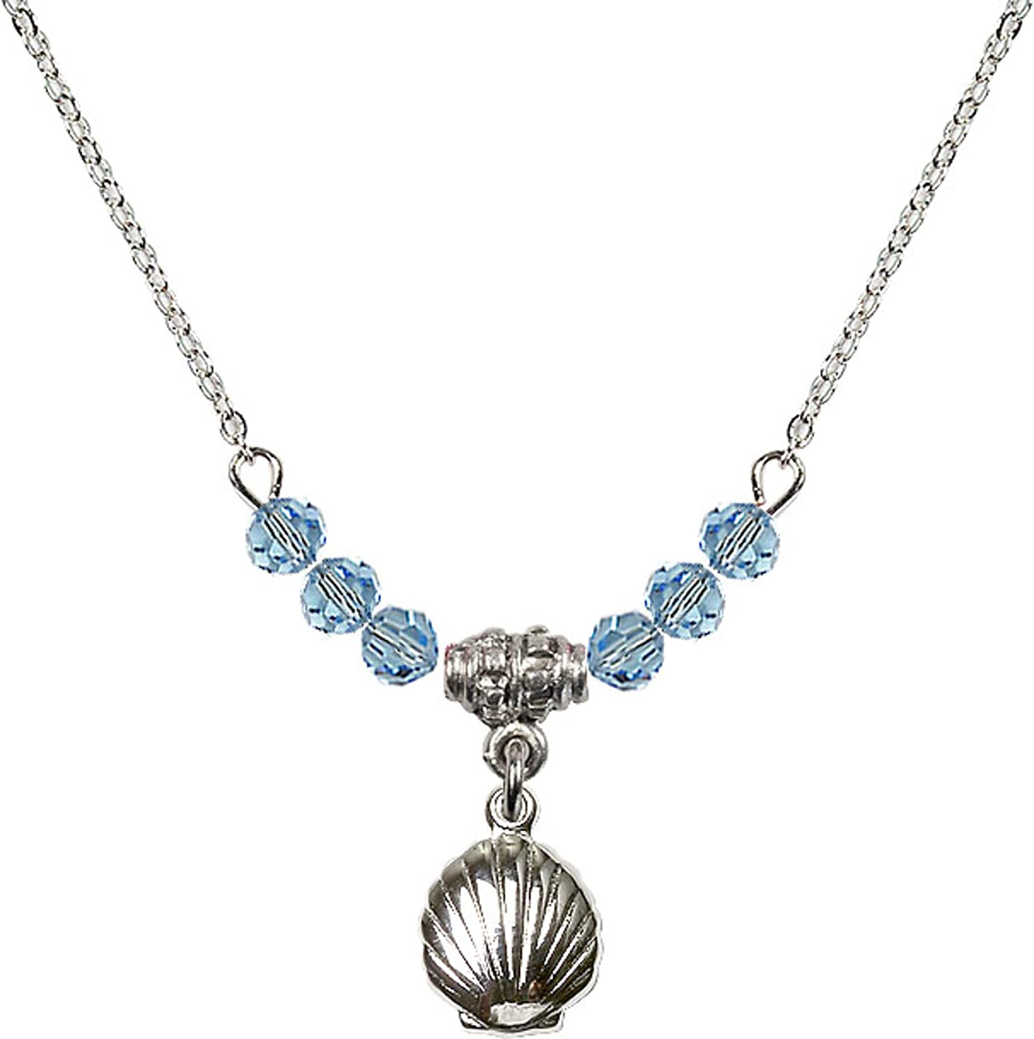 Bonyak Jewelry 18 Inch Rhodium Plated Necklace w// 4mm Blue March Birth Month Stone Beads and Shell Charm