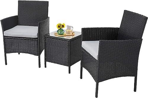 Incbruce Patio Bistro Set 3-Piece Outdoor Wicker Furniture Set