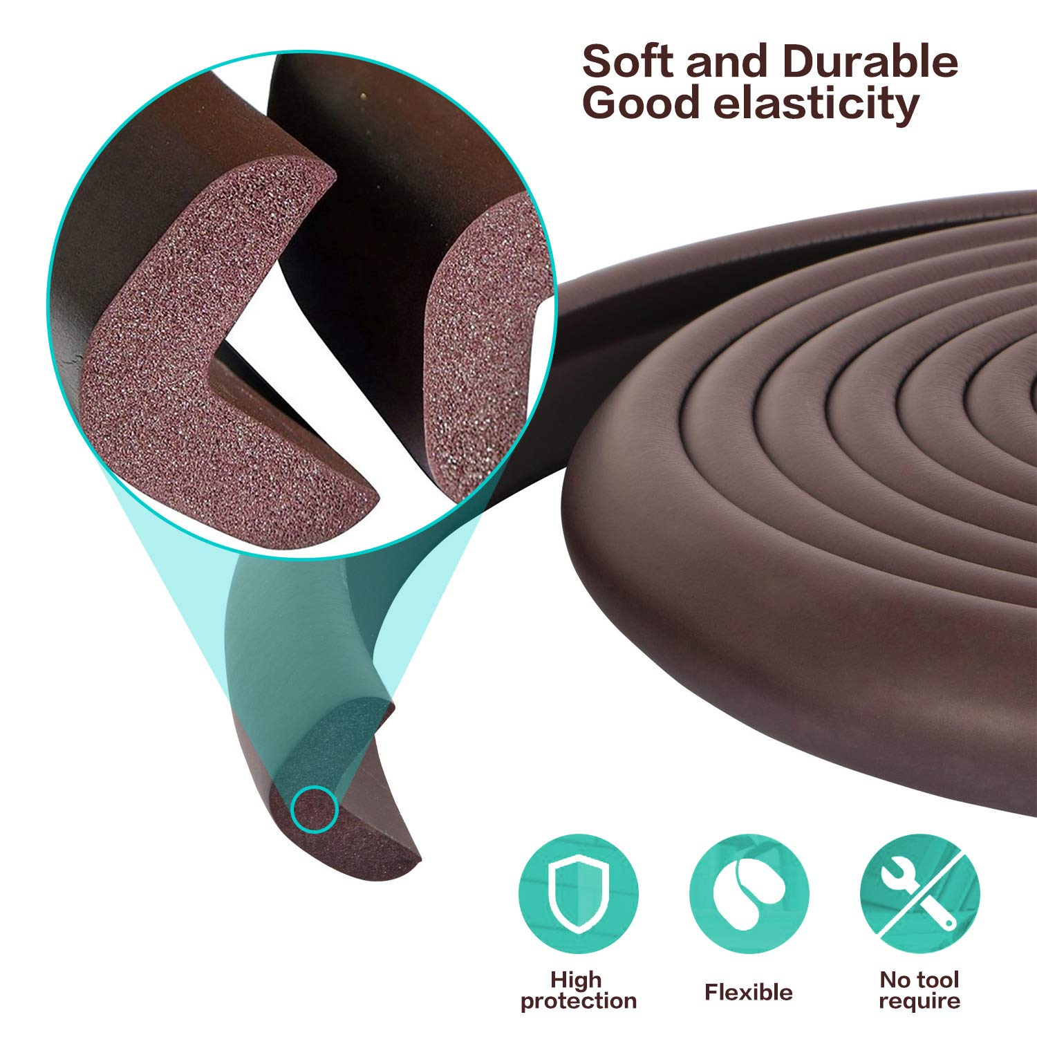 Baby Proofing Edge and Corner Guards,NBR Rubber Set for Safe Edge & Corner Guards Cushion,23Ft [19.68Ft Edge + 8 Corner],Child Safety Furniture Bumper(Brown) by COCOLi (Image #3)