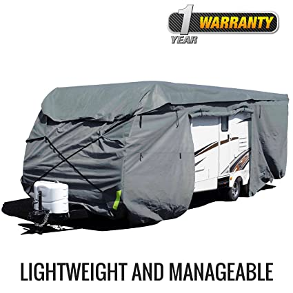 Budge Toy Hauler RV Covers Fits Toy Hauler RVs up to 25' Long (Gray,  Polyproplyene)