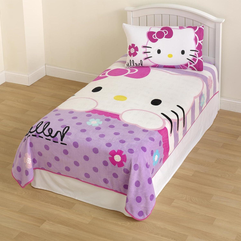 Hello Kitty Girl 's Micro Raschel Blanketフローラル印刷PlushフリースKids '寝具毛布 B01DY8R1BK