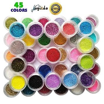 Magicdo 45 colores Polvo brillo arte clavo, Extra fina con purpurina botes, más ricas de rayas ...