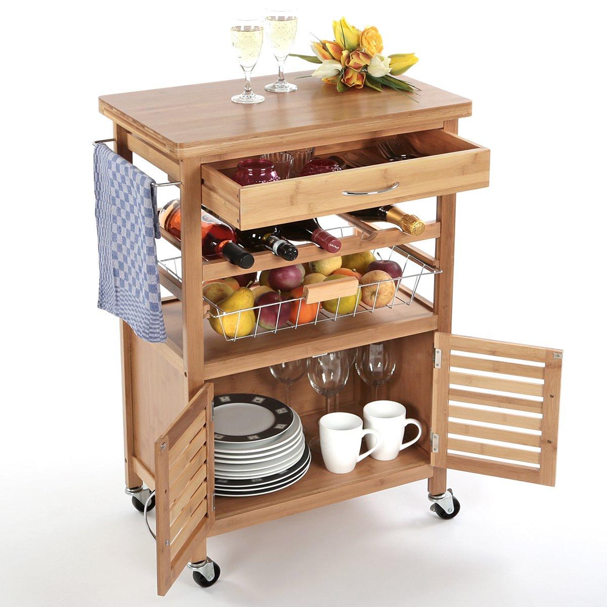 Torrex 39459 Küchenwagen – Servierwagen – Küchentrolley aus Bambus ...