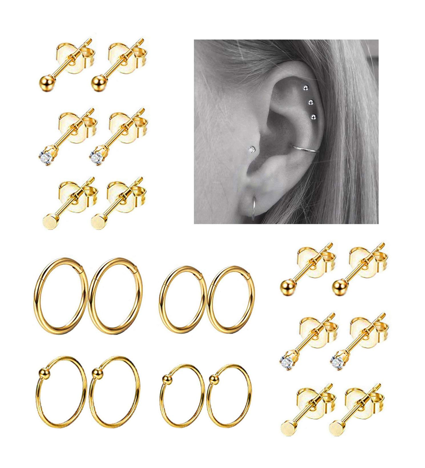 REVOLIA 10Pairs Stainless Steel Cartilage Earrings for Men Women Stud Earrings Ball CZ Tragus Helix Piercing G by REVOLIA
