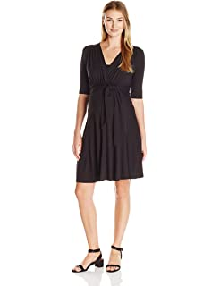 8168700c90c8c Maternal America Women's maternity Mini Front Tie Nursing Maternity Dress