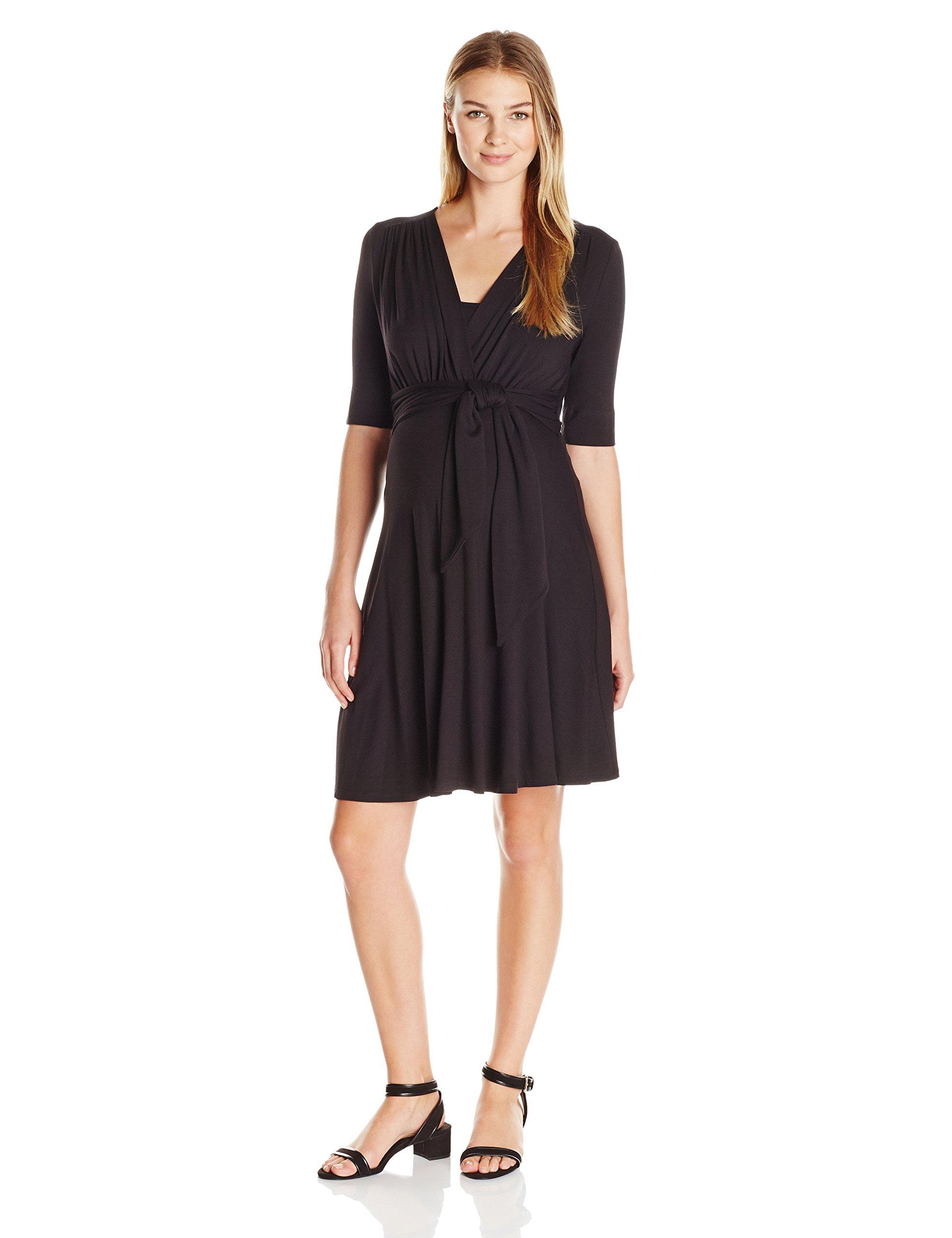 Maternal America Women's Maternity Mini Front Tie Nursing Dress, Black, M by Maternal America