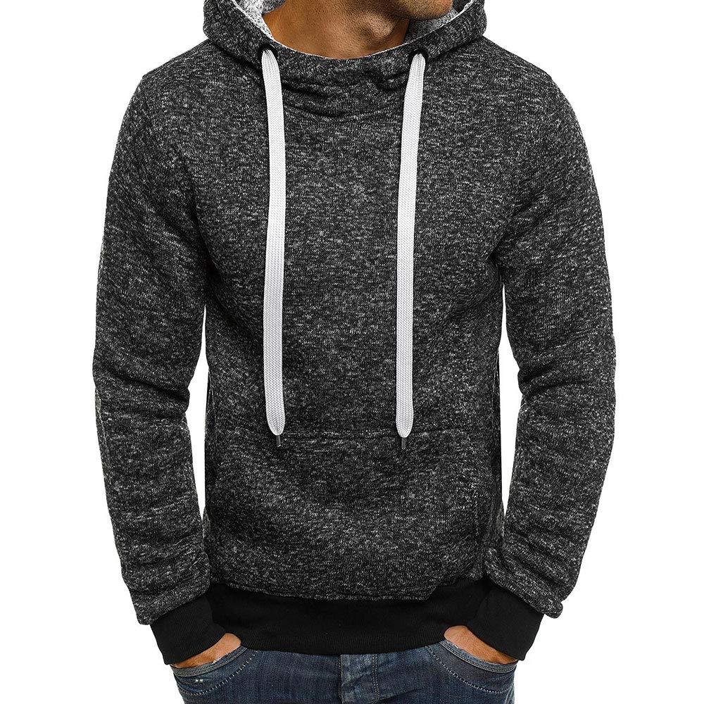 Fleeece Lining Heavyweight Long Sleeves Sweatshirts EVEDESIGN Mens Pull Over Hoodies