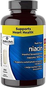 Member's Mark Flush Free Niacin Inositol Hexanicotinate Capsules, 500mg (1 bottle (200 capsules))