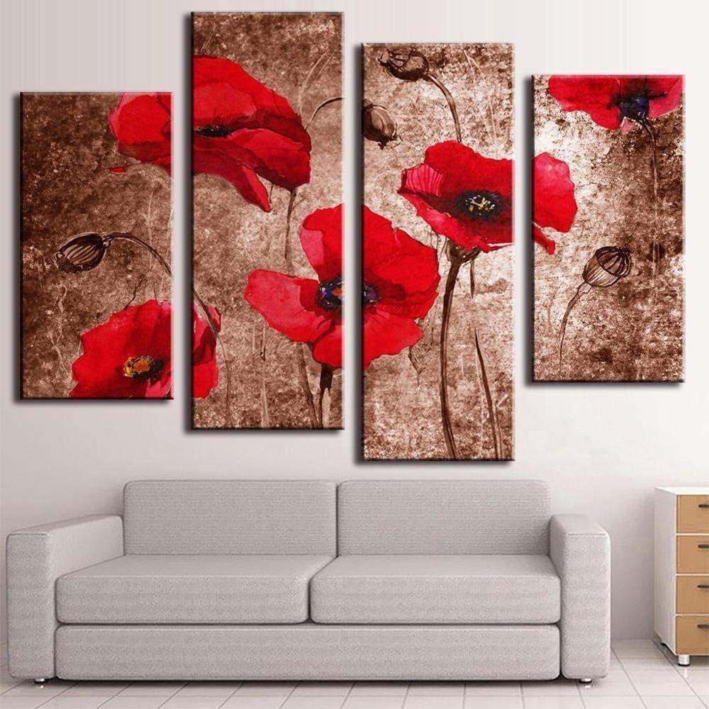 WADPJ Cuadro de la Pared de la Flor Amapolas Rojas abstractas de la Flor en la Pintura marrón Impresión en Lienzo Arte Cartel Decoración para el hogar-40x80 40x100cm sin Marco