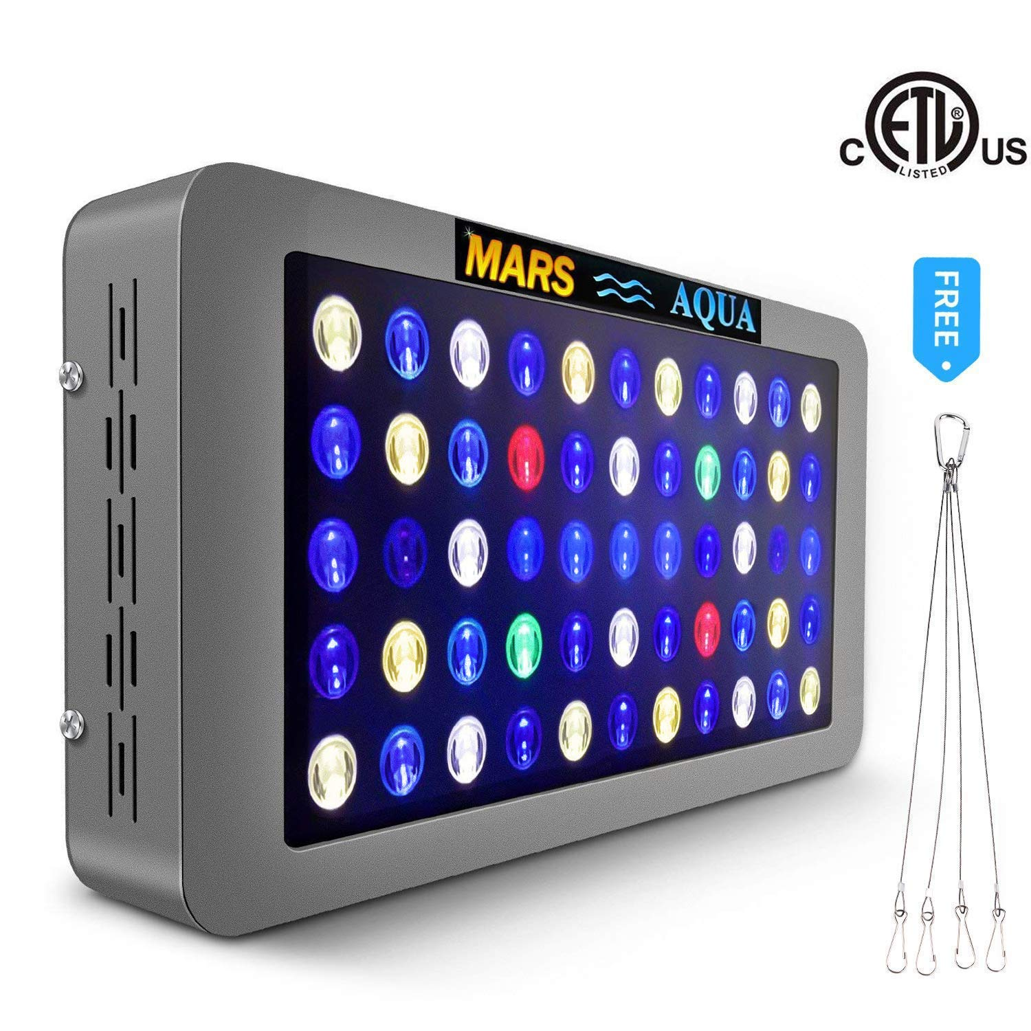 MarsAqua Dimmable 165W 300W LED Aquarium Light 30 Gallon 55 Gallon Coral Reef Light Full Spectrum for Fish Freshwater and Saltwater Coral Tank Blue and White 6500K LPS/SPS with Daisy Chain Multifuncti by MARS AQUA