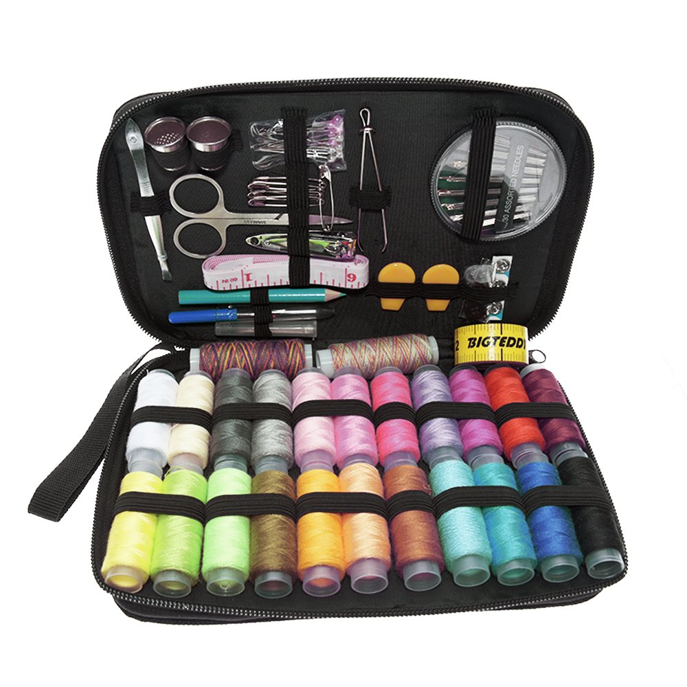 BIGTEDDY - 96pc Embroidery Kit Beginner Sewing Supplies Tools Travel Emergency Sew Accessories Kit for Home Office Dress and Clothes Repair Threads and Needles and much more BT0035