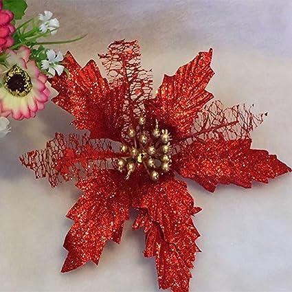 Stella Di Natale Con Perline.Alcyoneus Stella Di Natale Incavata E Glitterata Fiore Finto Per