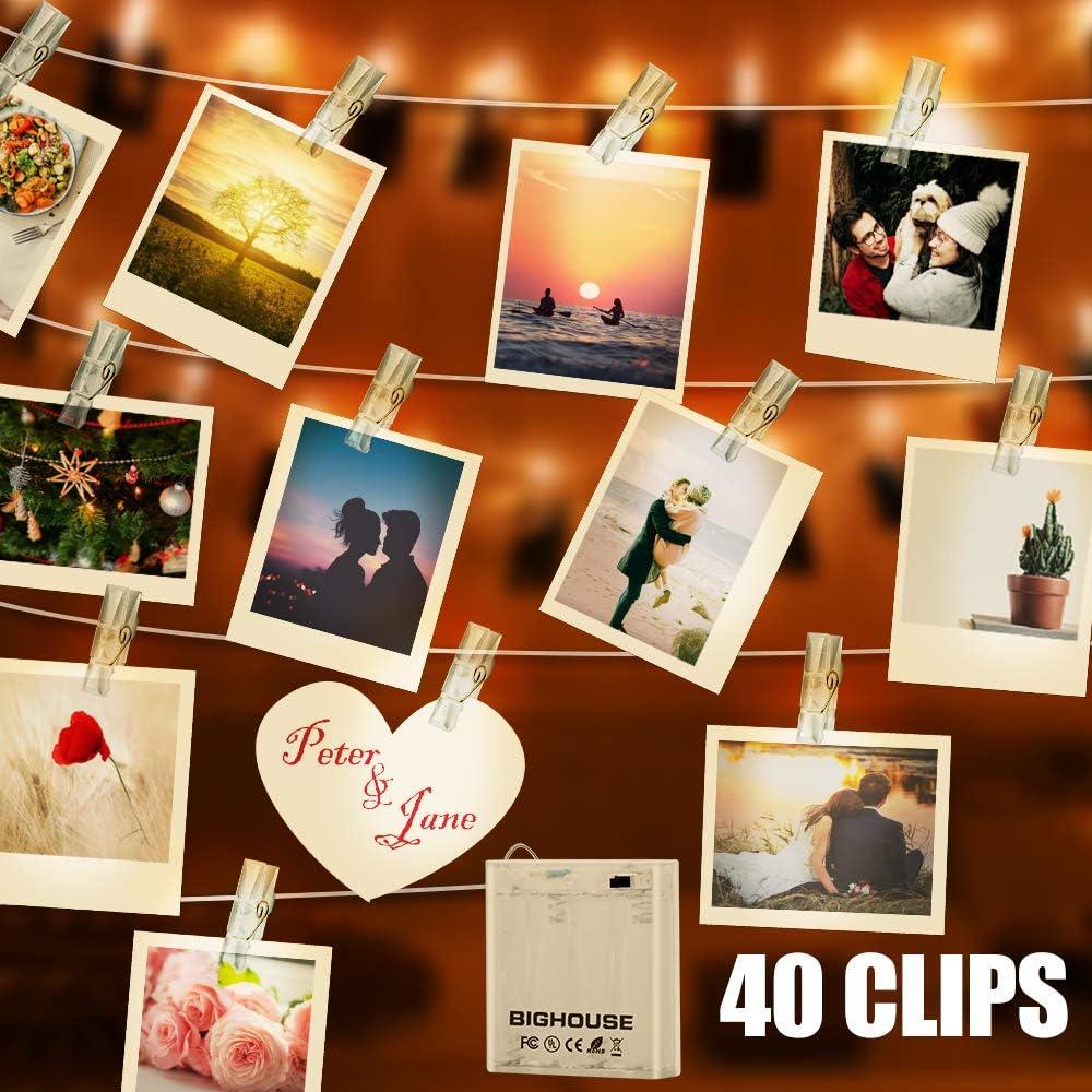 Weihnachten Party LED Foto Clip Lichterketten f/ür Zimmer BIGHOUSE 40 LED 4.5M Batteriebetriebene Stimmungsbeleuchtung Dekoration Mit 40 Klammern f/ür Valentinstag Geburtstag