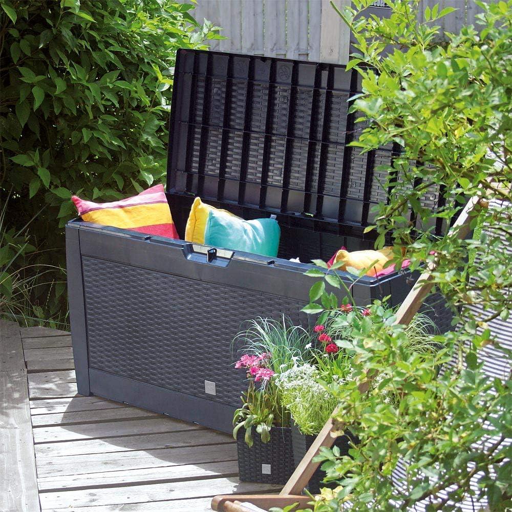 Deuba Baúl de almacenaje Marrón Cofre con Capacidad de 310L arcón Banco Almacenamiento Polipropileno contenedor de jardín: Amazon.es: Jardín
