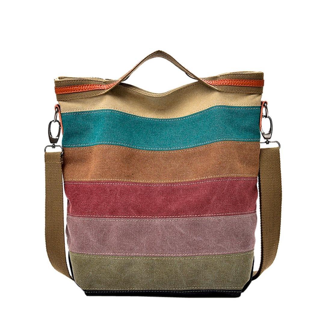 Sunshinehomely Casual Women Canvas Splice Stripe Crossbody Bag Shoulder Bag Handbag Totes for Women Girls