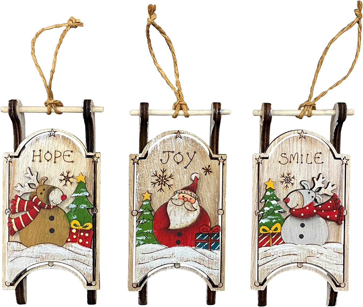 Christmas Sled Ornaments (Set of 3) Wooden Holiday Sleigh Tree Decorations - Hand Painted Farmhouse Christmas, Vintage Rustic Decorative Hanging Ornaments or Indoor Wall Decor (Reindeer)