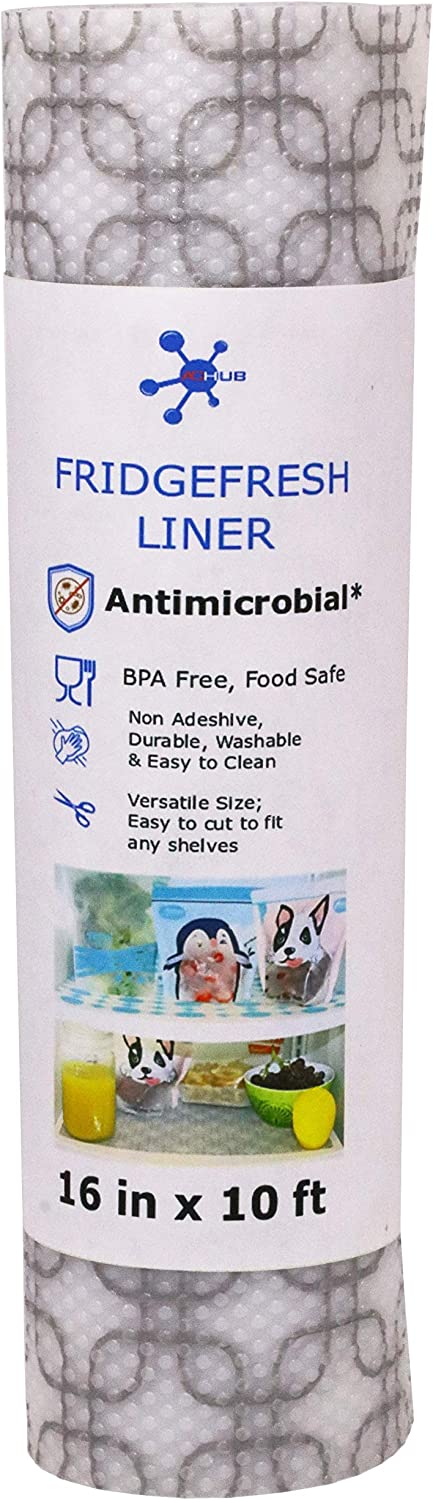 "ACHub Antimicrobial Refrigerator Shelf Liner, BPA Free, Wider Roll (120"" x 16"") Fridge Liner, Cut to Fit, Non Adhesive, Washable Refrigerator Liner, Easy to Clean & Durable Kitchen Fridge Mat"