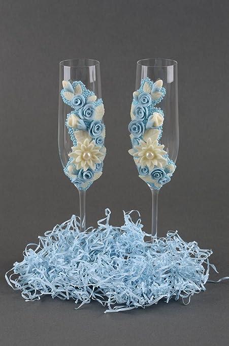 Copas para boda hechas a mano con abalorios vasos de cristal regalo original