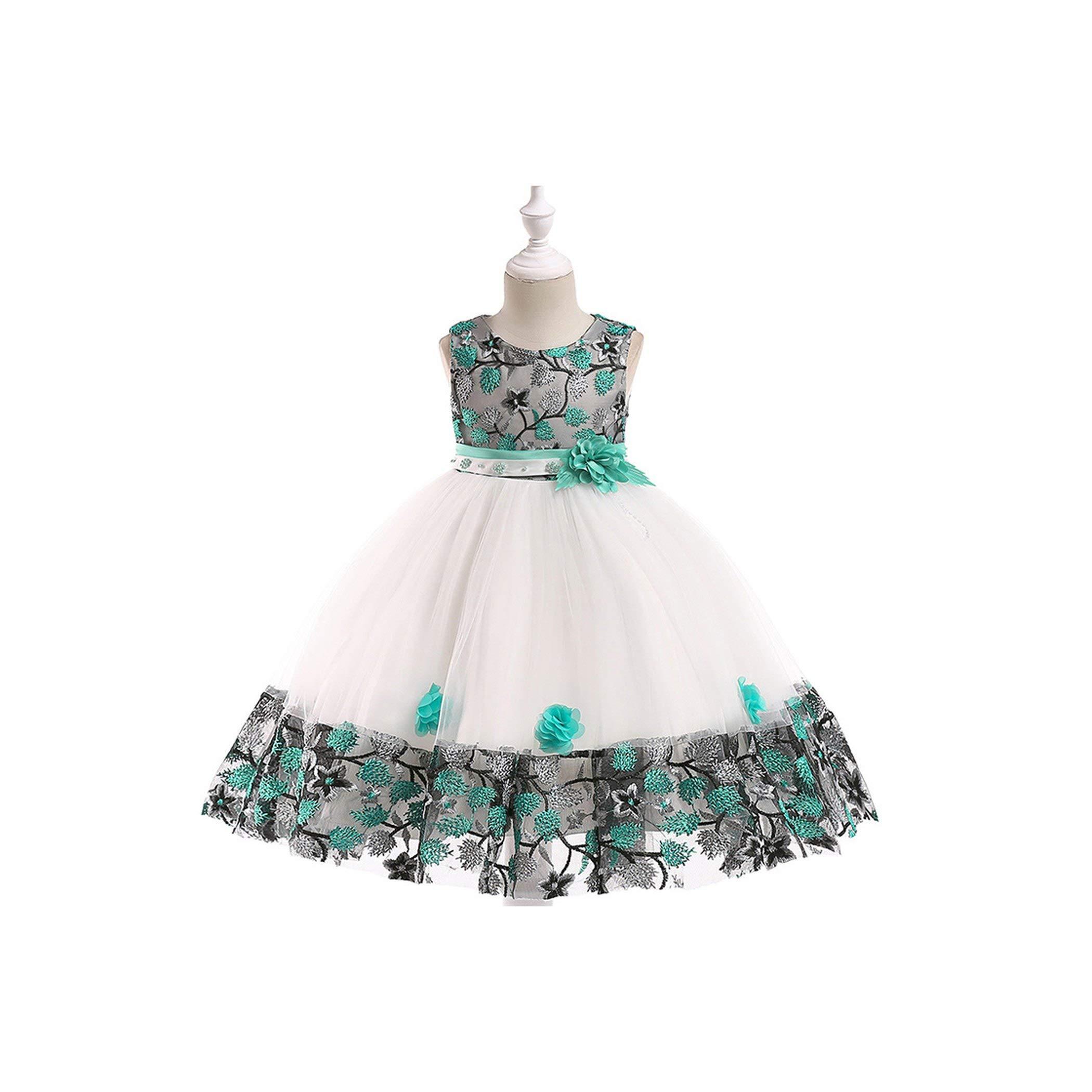3-8T Flower Girls Dress Princess Lace Design Party Dress Birthday Costume Children Girl Dress,Green,ZT