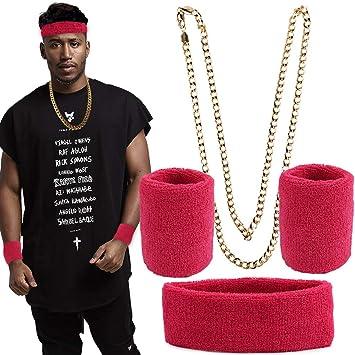 FLOFIA Conjunto Disfraz Rapero Hip Hop Rapper Accesorios Collar ...
