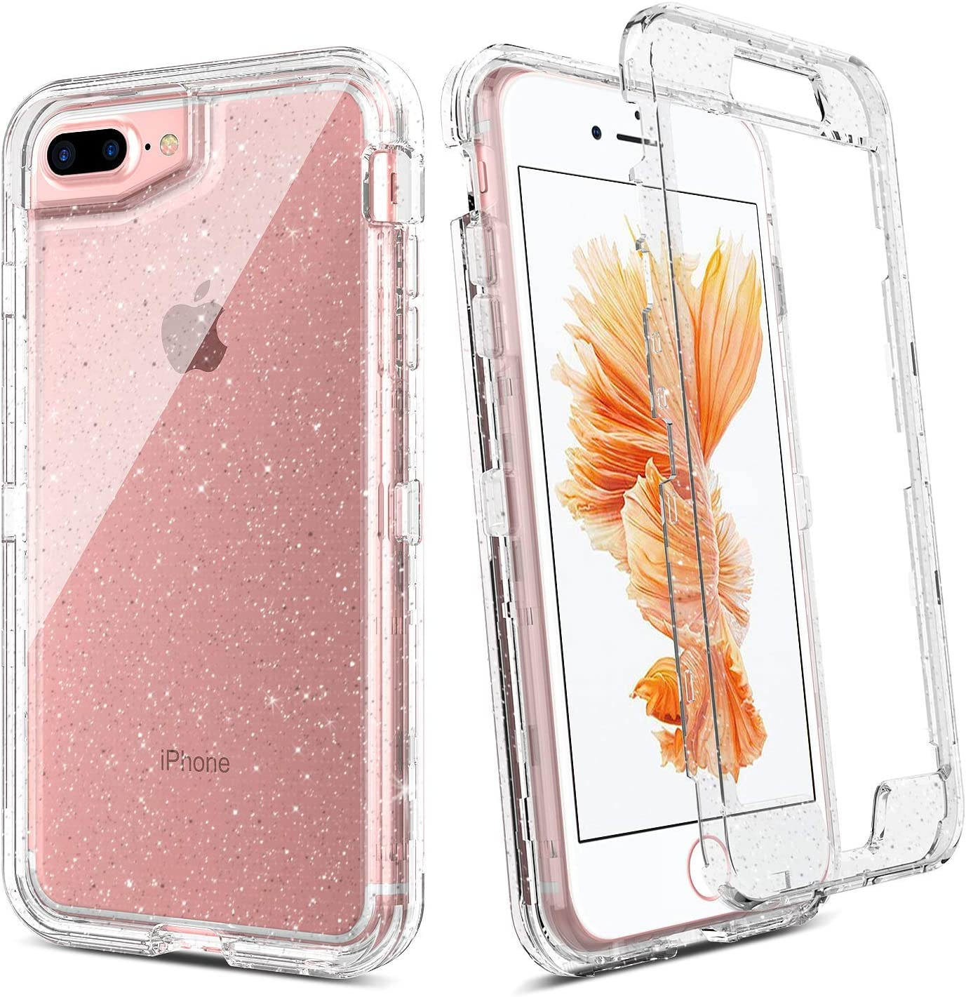 BENTOBEN iPhone 8 Plus Case, iPhone 7 Plus Case, iPhone 6s Plus Case, iPhone 6 Plus Case, Transparent Clear Heavy Duty Rugged Full Body Shockproof Protective Phone Cover, Silver Glitter Crystal Clear