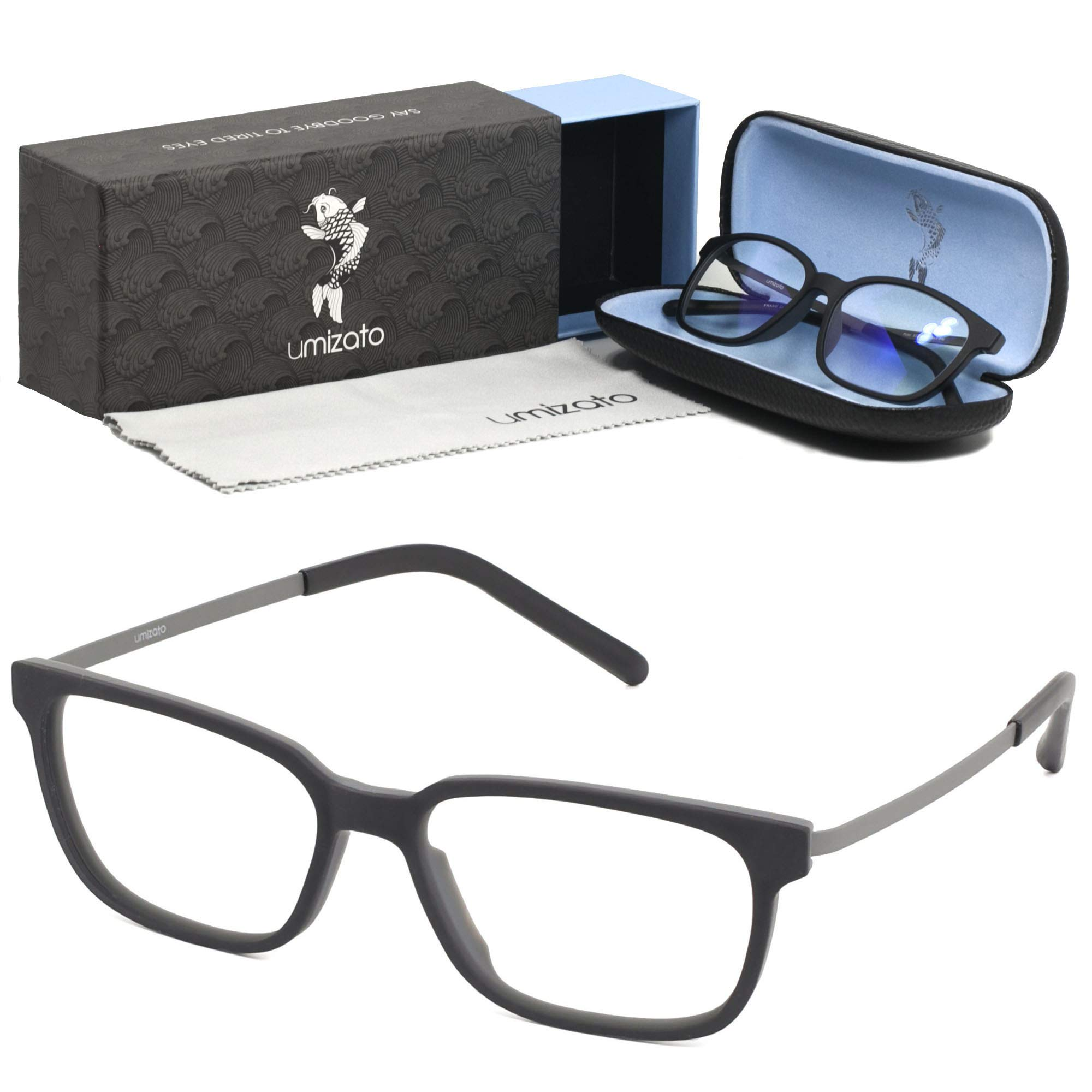 UMIZATO Computer Gaming Glasses Blue Light Blocking for Men Women Clear Lens, PC Accessories - FDA Approved - Relieves Digital Eye Strain, UV Blocker, Anti-Glare, Anti-Fatigue (Pictor in Black)