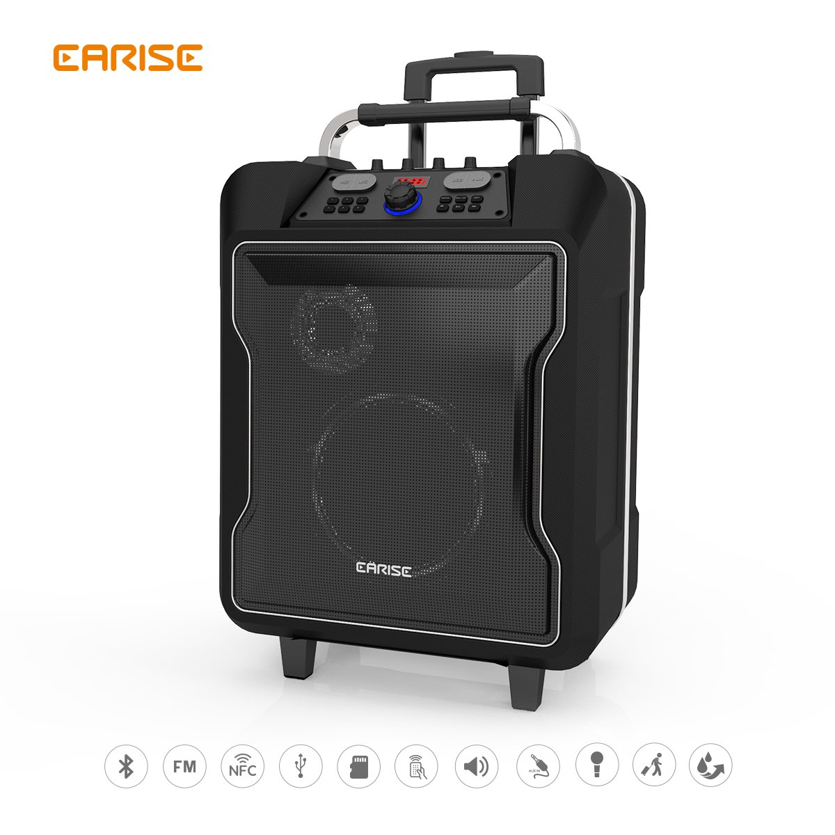EARISE M60 Audio PA System Bluetooth Rolling Speaker Rechargeable 10''+3'' Subwoofer with Wireless Microphone, Remote Control, AUX/TF/USB/NFC, Mic/Guitar Jack Telescoping Handle & Wheels