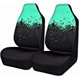 CAR PASS NEW ARRIVAL SPORTY Universal Fit Two Front Car Seat Covers,Perfect Fit Suvs,sedans,Vehicles,Airbag Compatible(Black and Mint Blue)